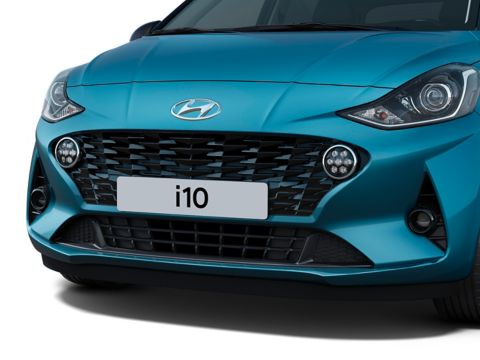 The all-new Hyundai i10 pictured from the front with Hyundai's new bold grille.
