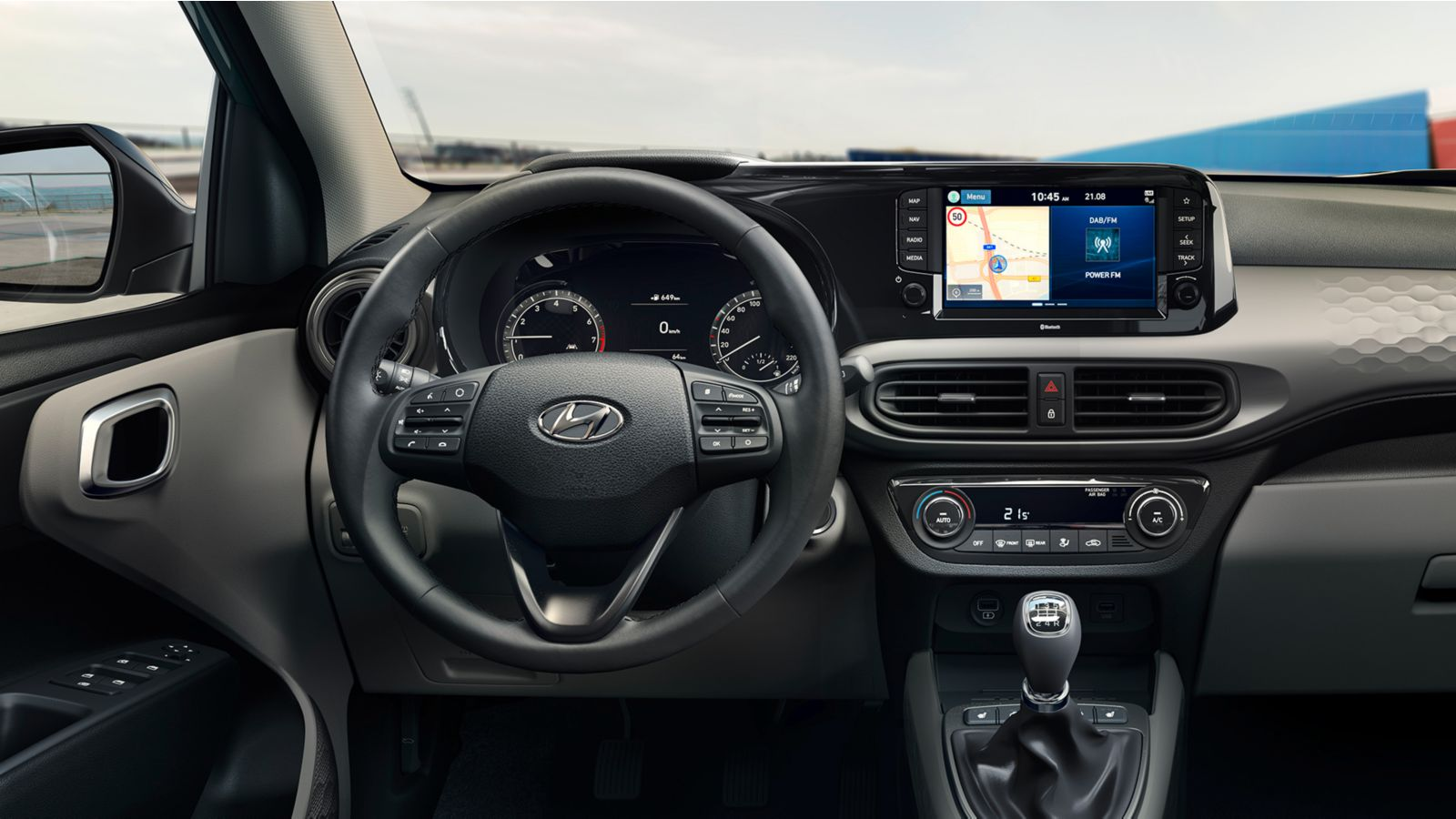 Close up image of the heated steering wheel in the Hyundai i10.