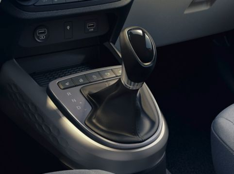 Close up view of the automated manual transmission in the Hyundai i10.