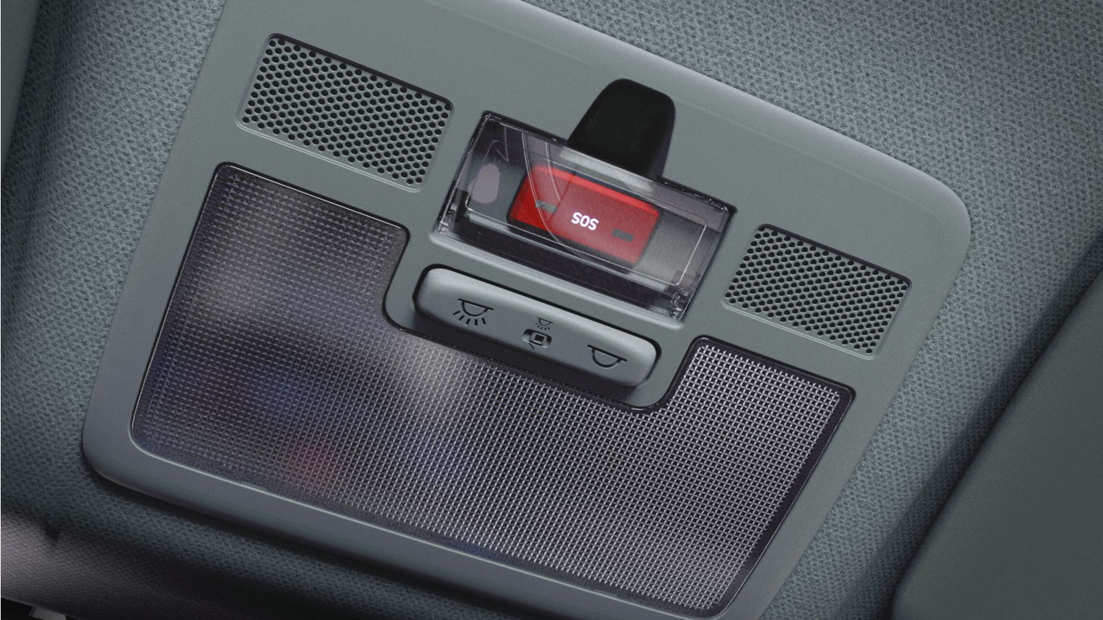 Close up view of the E-call button in the all-new Hyundai i10.