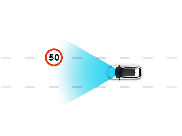 Illustration depicting the Hyundai Intelligent Speed Limit Assist