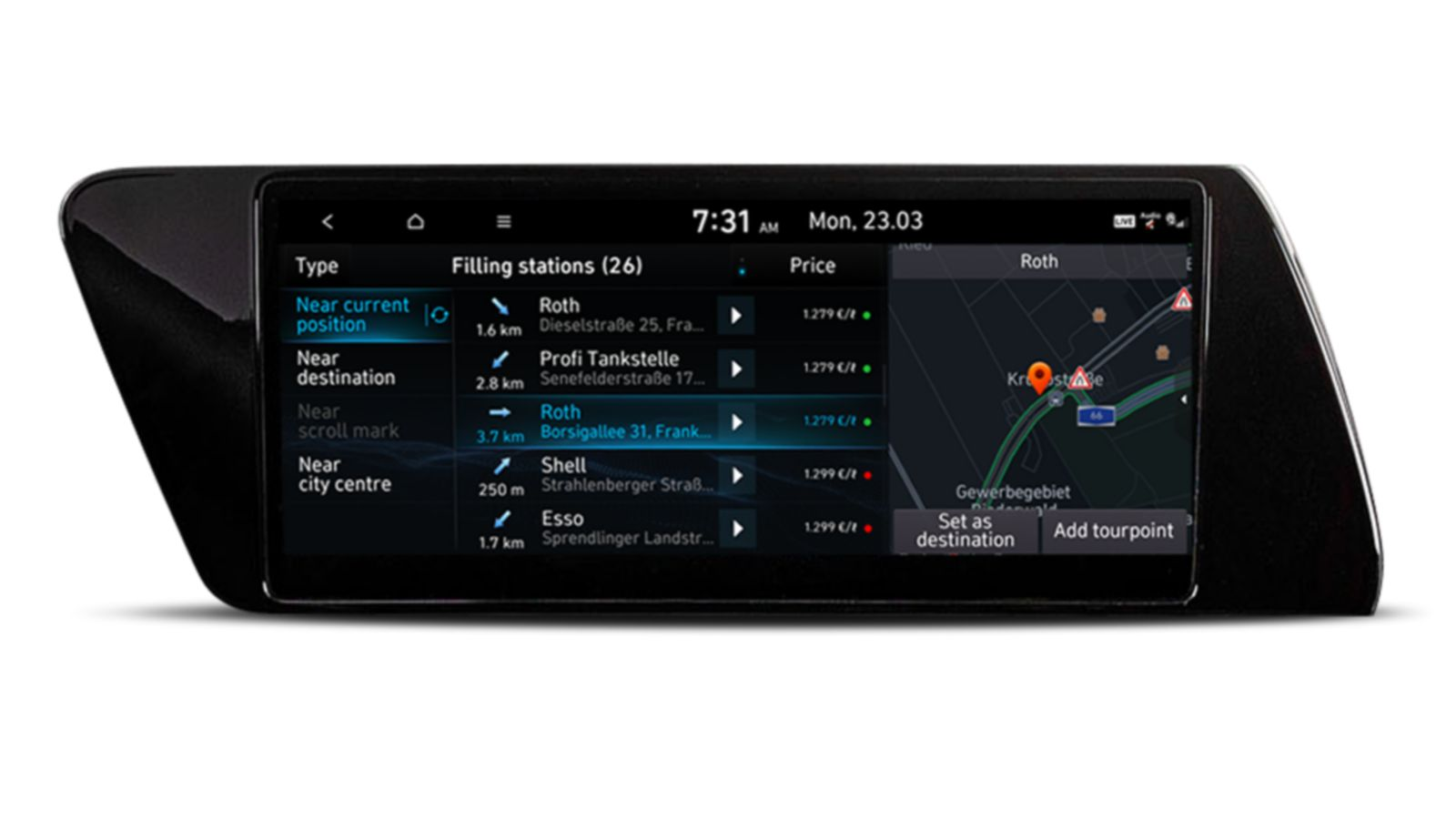 Image of the 10.25-inch screen of the new Hyundai i20, showing live fuel price information.