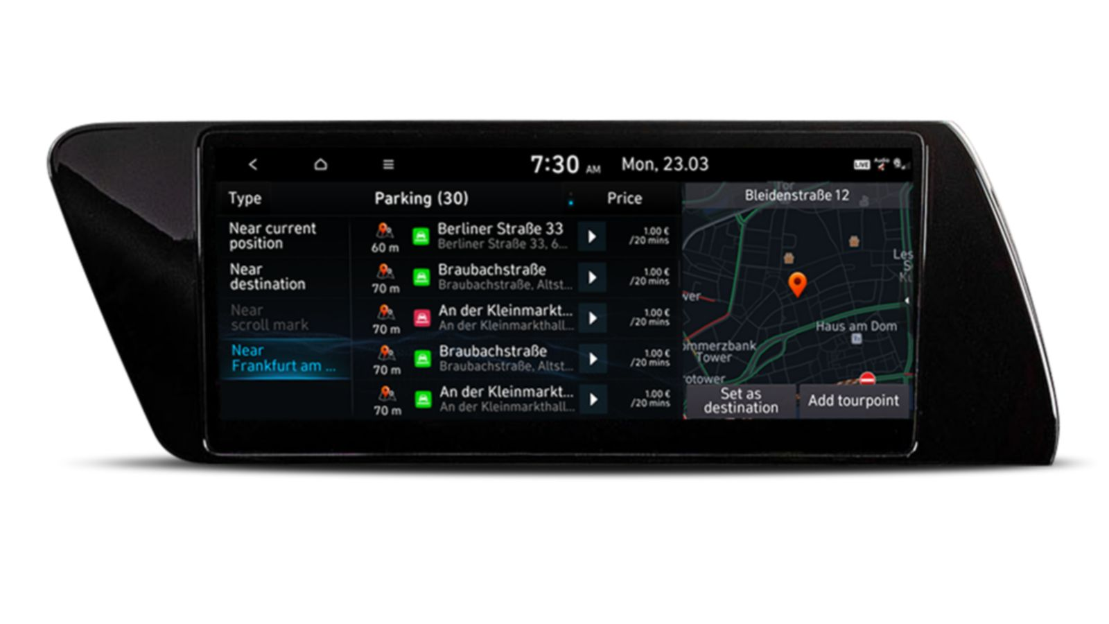 Image of the 10.25-inch screen of the new Hyundai i20, showing on and off-street parking information.