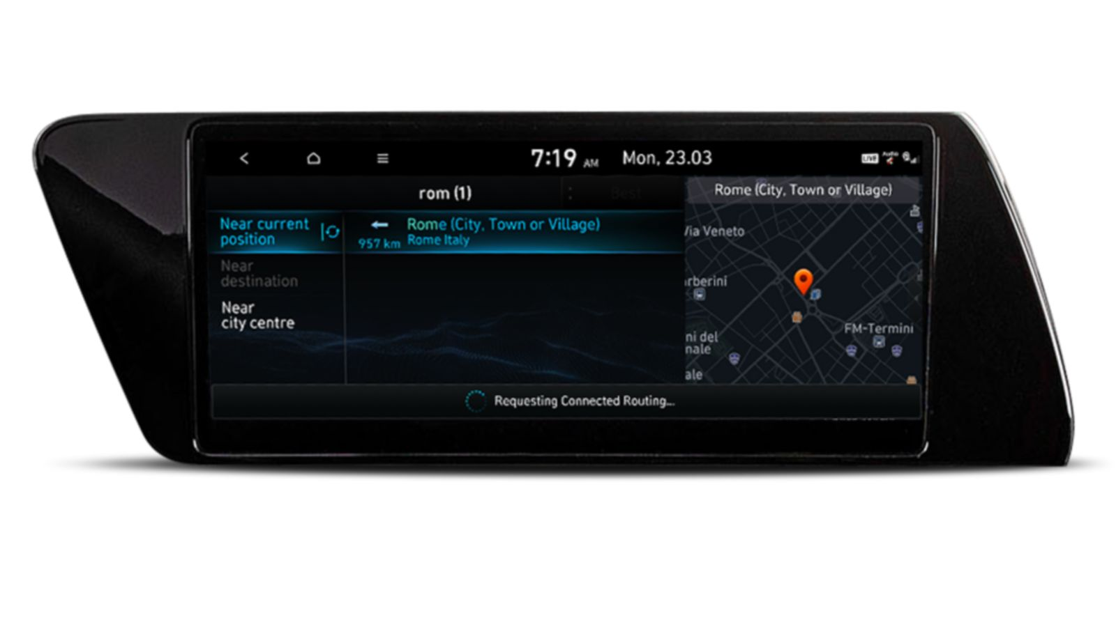 Image of the 10.25-inch screen of the new Hyundai i20, showing live point of interest.
