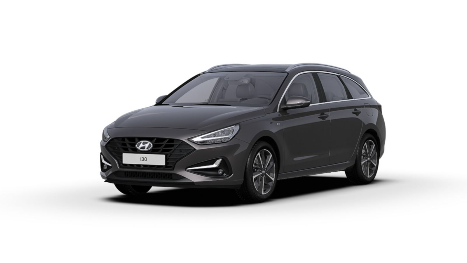 Front side view of the new Hyundai i30 Wagon in the colour Dark Knight.