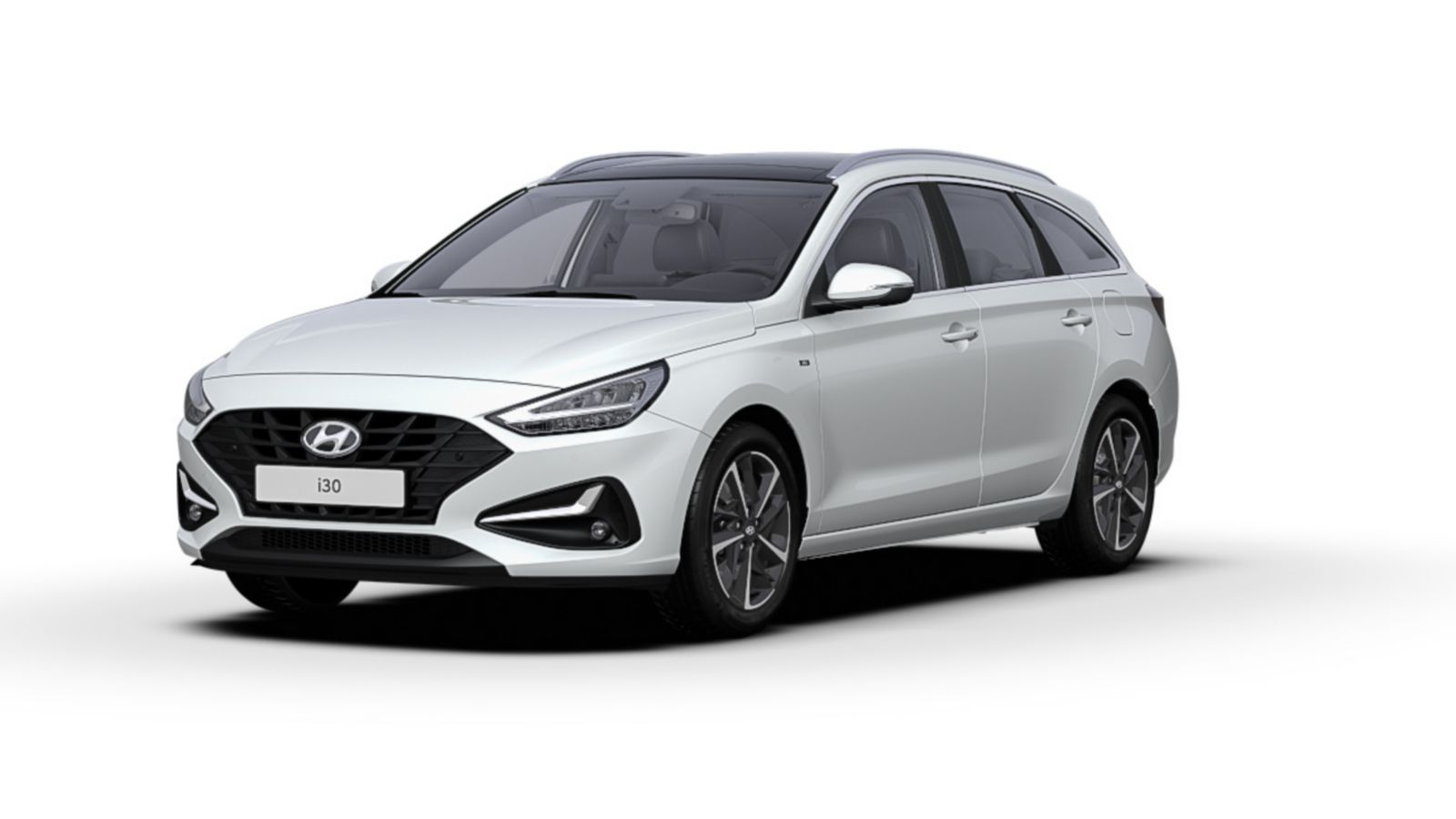 Front side view of the new Hyundai i30 Wagon in the colour Polar White.