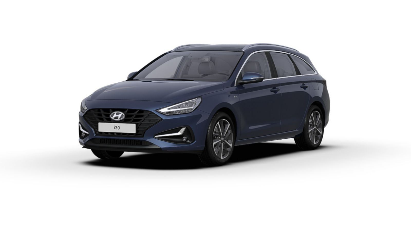 Front side view of the new Hyundai i30 Wagon in the colour Stellar Blue.