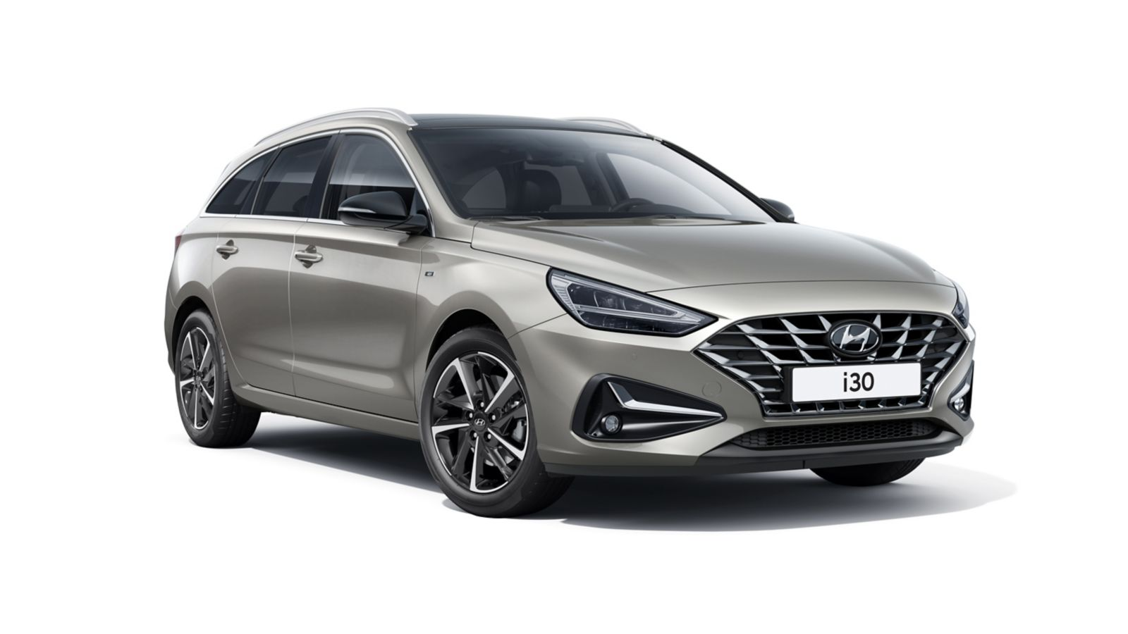 The new Hyundai i30 Wagon pictured from the passenger side front.