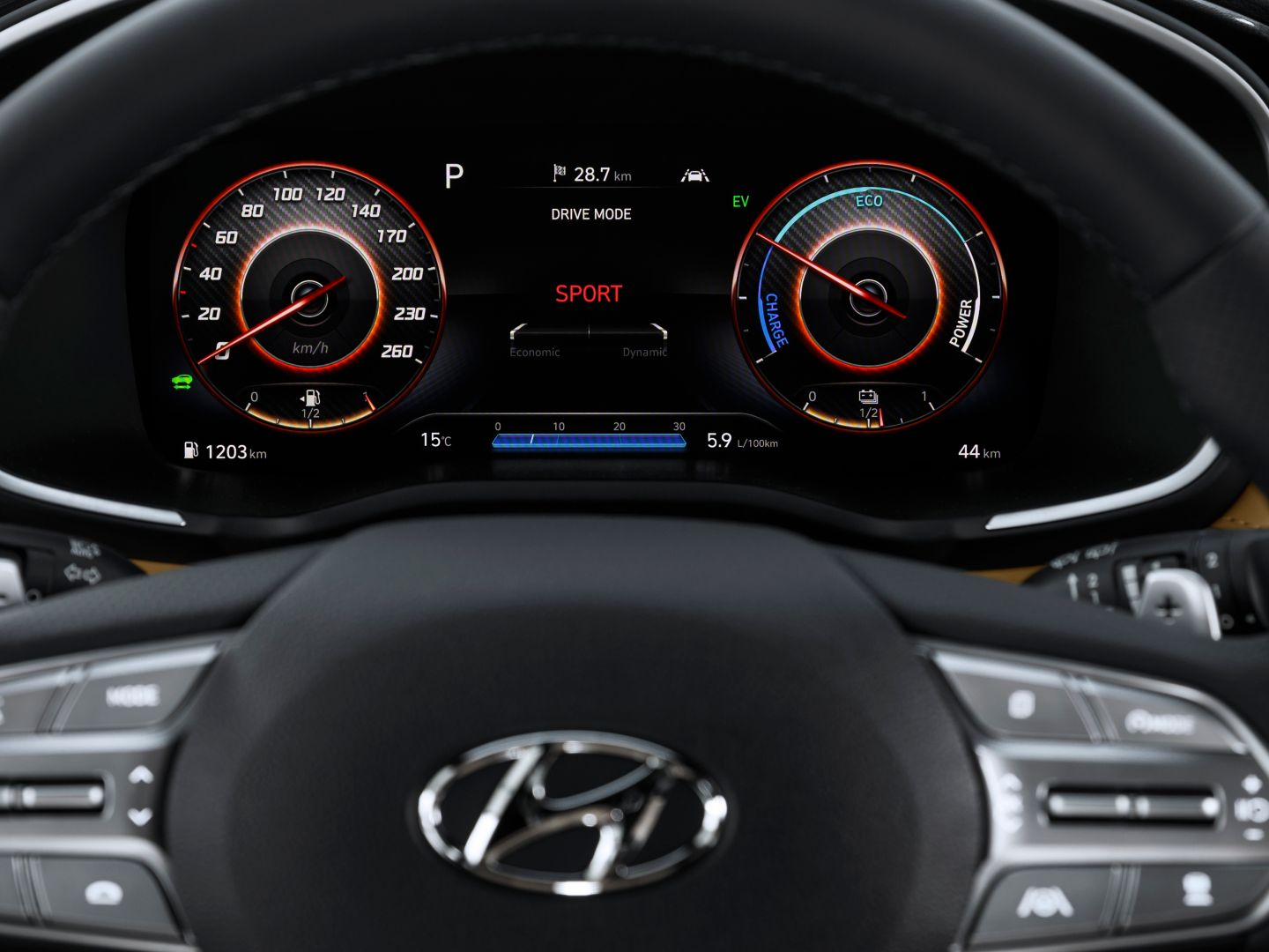 "A close-up image of the new Hyundai Santa Fe's new 12.3"" fully digital cluster and steering wheel."