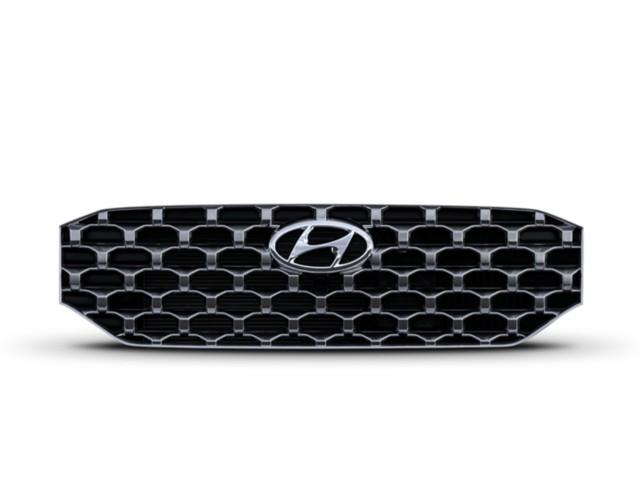 Close up image showing bold wide grille of the new Hyundai Santa Fe SUV.