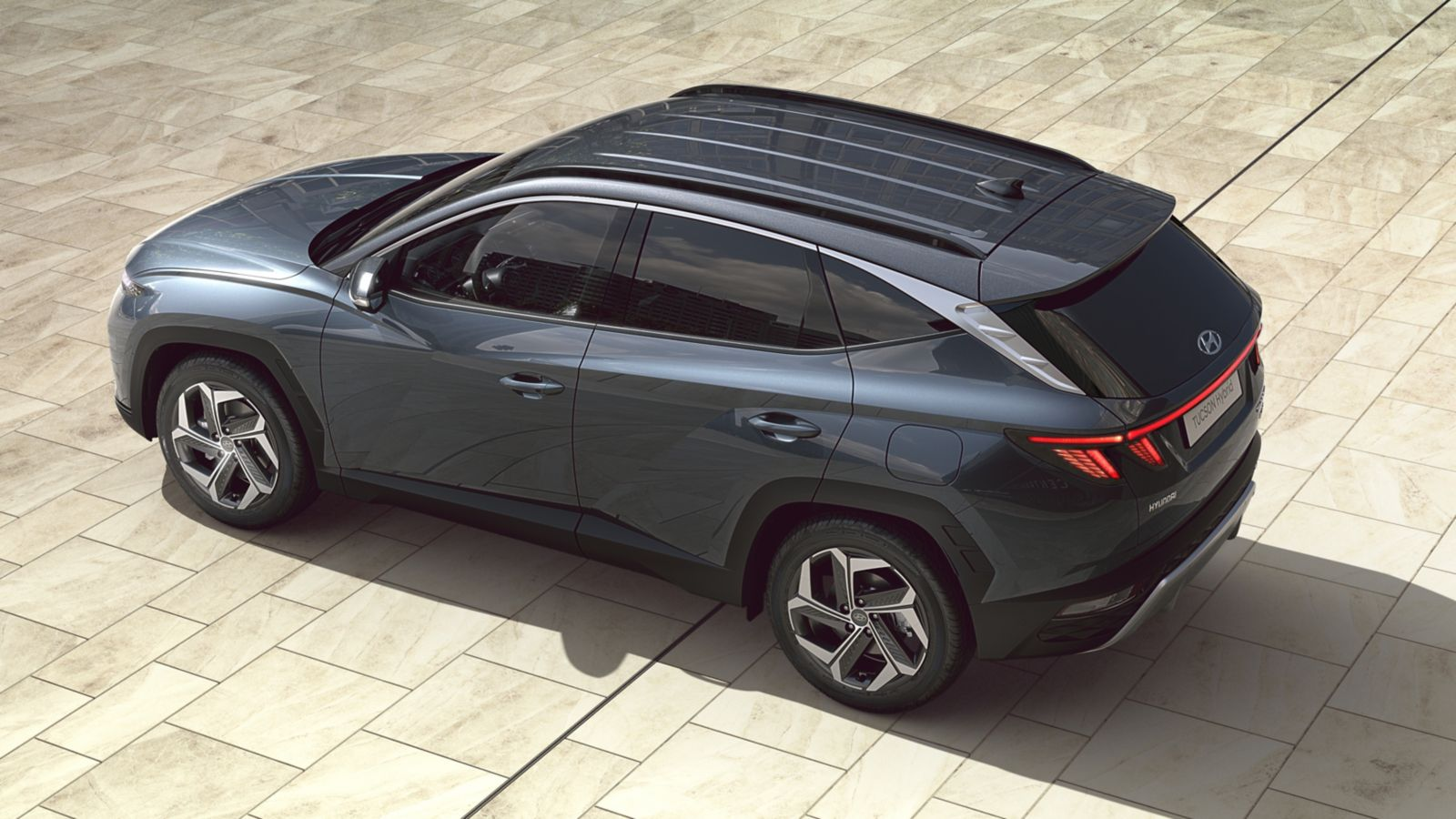 The all-new Hyundai Tucson compact SUV pictured from the top.