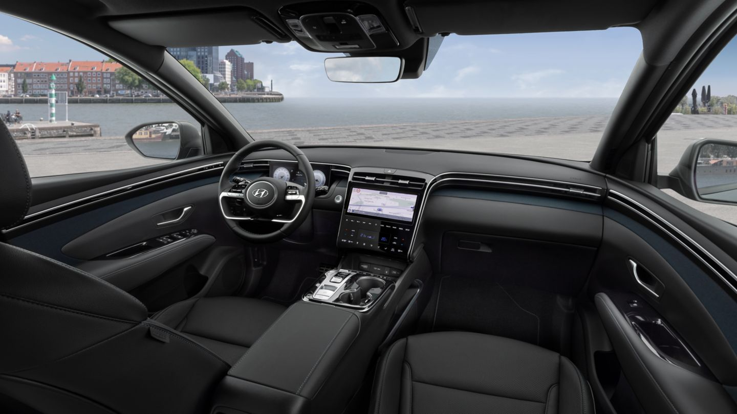 Image of the all-new Hyundai Tucson compact SUV's futuristic interior design.