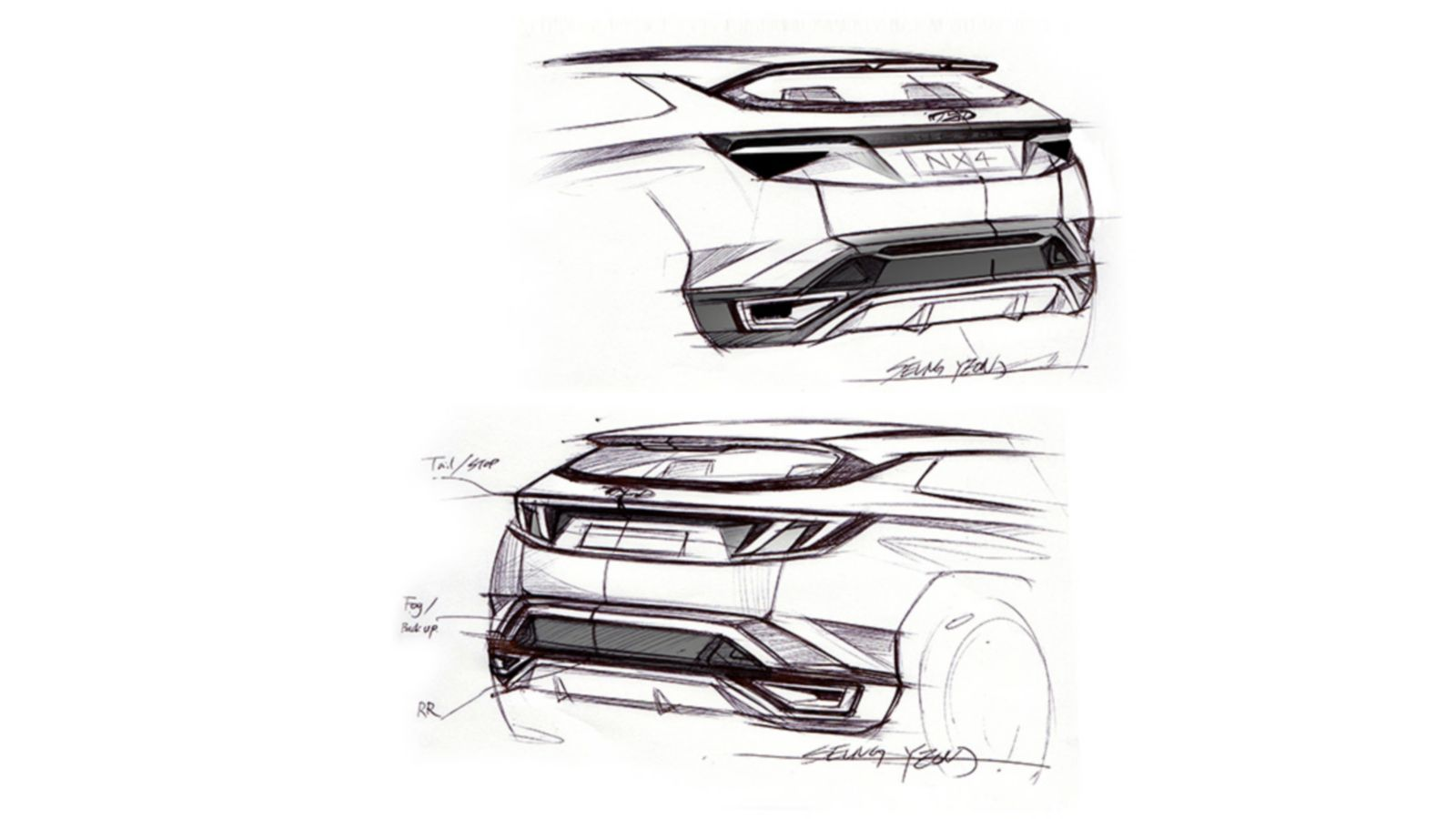 Design sketch of the all-new Hyundai Tucson compact SUV pictured from the rear.