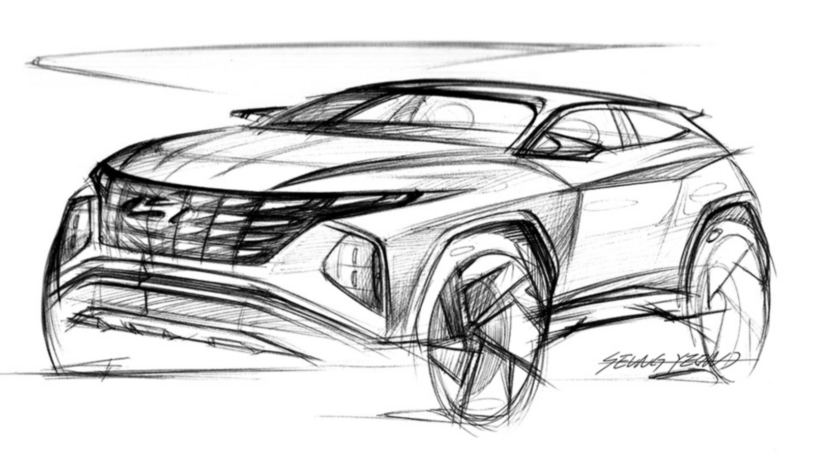 Design sketch of the all-new Hyundai Tucson compact SUV pictured from the front.