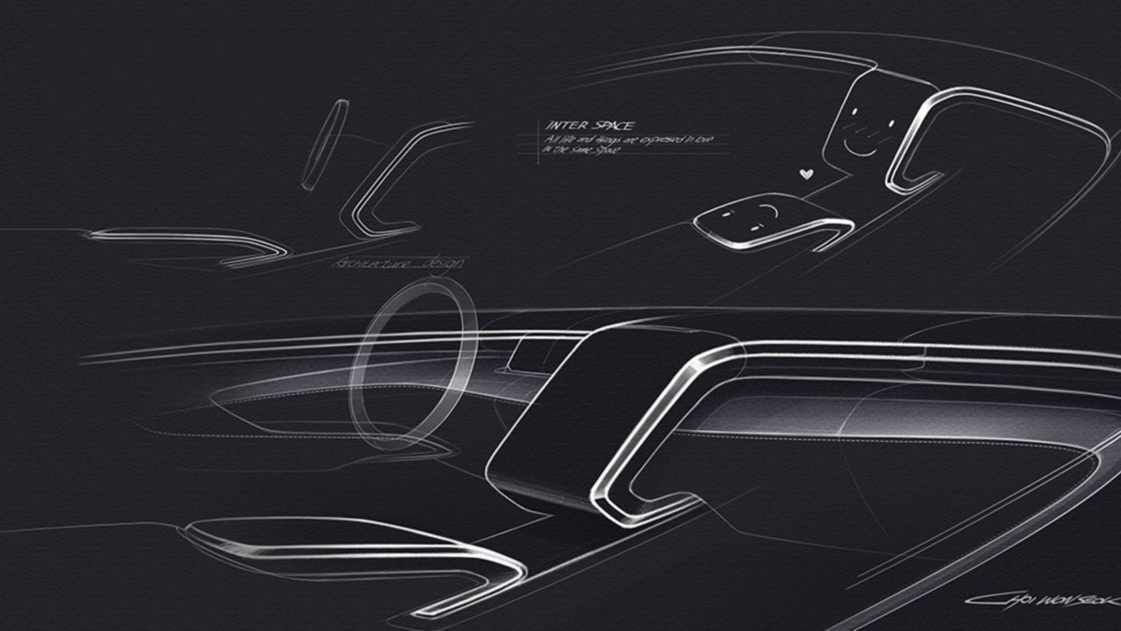 Design sketch of the all-new Hyundai Tucson compact SUV interior design.
